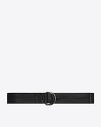 SAINT LAURENT Medium Belt D HARNESS Stitched Belt in Black Leather f