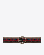 SAINT LAURENT Medium Belt D HARNESS Marrakech Belt in Black, Beige and Multicolor Embroidered Cotton f