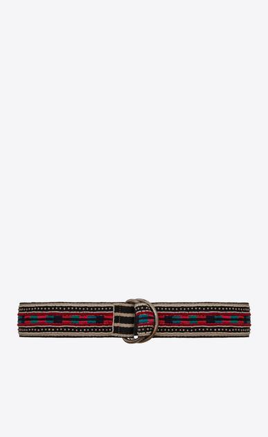 SAINT LAURENT Medium Belt D HARNESS Marrakech Belt in Black, Beige and Multicolor Embroidered Cotton a_V4