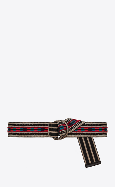SAINT LAURENT Medium Belt D HARNESS Marrakech Belt in Black, Beige and Multicolor Embroidered Cotton b_V4