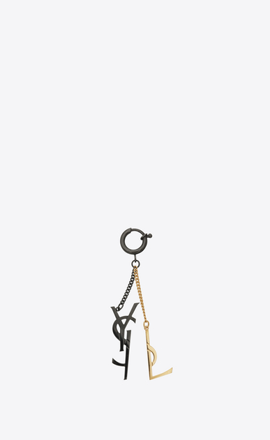 SAINT LAURENT Key Ring Woman Deconstructed YSL Key Ring in Gold-Toned Metal and Black Enamel a_V4