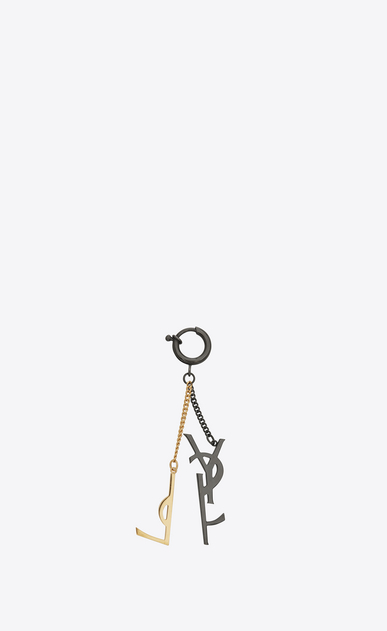 SAINT LAURENT Key Ring Woman Deconstructed YSL Key Ring in Gold-Toned Metal and Black Enamel b_V4