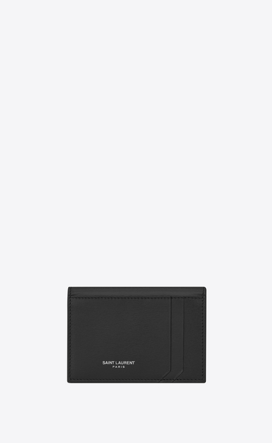 SAINT LAURENT Fragments Small Leather Goods Woman FRAGMENTS Credit Card Case in Black Leather a_V4