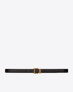 SAINT LAURENT Skinny Belts D MONOGRAM PASSANT Buckle Belt in Black Leather f