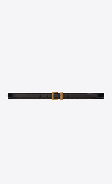 SAINT LAURENT Skinny Belts D MONOGRAM PASSANT Buckle Belt in Black Leather a_V4
