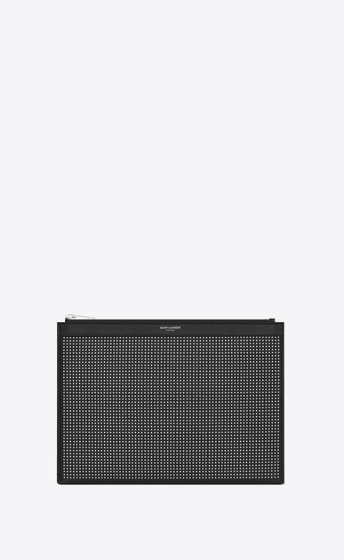 SAINT LAURENT SLP animation Man zipped tablet holder in leather and studs a_V4