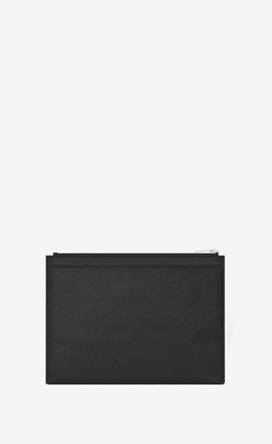 SAINT LAURENT SLP animation U SAINT LAURENT PARIS Studded Zipped Tablet Holder in Black Leather b_V4