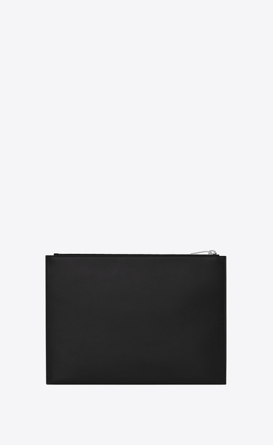 "SAINT LAURENT SLP animation U SAINT LAURENT PARIS ""SMOKING FOREVER"" Patch Zipped Tablet Holder in Black Leather b_V4"