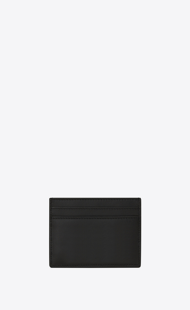 "SAINT LAURENT SLP animation U SAINT LAURENT PARIS ""S.L LOVE"" Patch Credit Card Case in Black Leather b_V4"