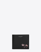 SAINT LAURENT SLP animation U SAINT LAURENT PARIS Flamingo East/West Wallet in Black and Pink Leather f