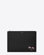 SAINT LAURENT SLP animation U Custodia per tablet con zip SAINT LAURENT PARIS Flamingo in pelle nera f