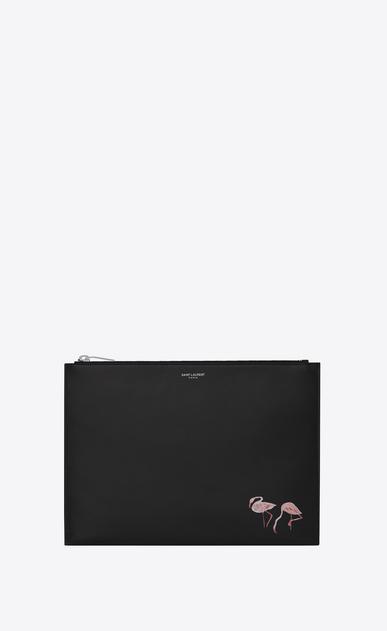 SAINT LAURENT SLP animation U SAINT LAURENT PARIS Flamingo Zipped Tablet Holder in Black Leather a_V4