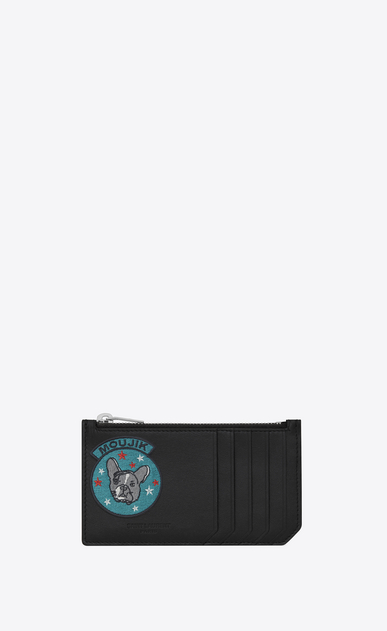 "SAINT LAURENT SLP animation Man FRAGMENTS ""MOUJIK"" Patch Zip Pouch in Black Leather a_V4"