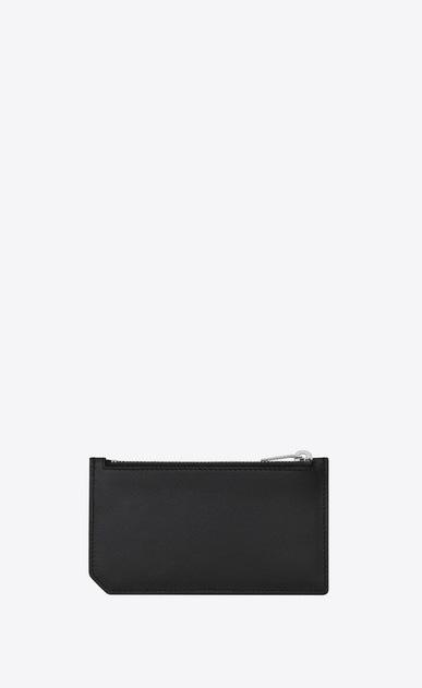 "SAINT LAURENT SLP animation Man FRAGMENTS ""MOUJIK"" Patch Zip Pouch in Black Leather b_V4"