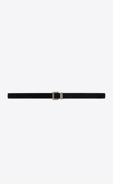 SAINT LAURENT Skinny Belts Man passant buckle belt in black suede a_V4