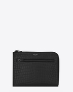 SAINT LAURENT Saint Laurent Paris SLG U SAINT LAURENT PARIS Multi-Zip Tablet Holder in Black Crocodile Embossed Leather f