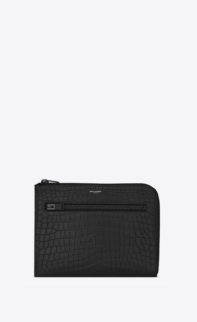 SAINT LAURENT Saint Laurent Paris SLG U SAINT LAURENT PARIS Multi-Zip Tablet Holder in Black Crocodile Embossed Leather a_V4
