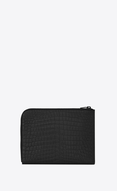 SAINT LAURENT Saint Laurent Paris SLG U SAINT LAURENT PARIS Multi-Zip Tablet Holder in Black Crocodile Embossed Leather b_V4