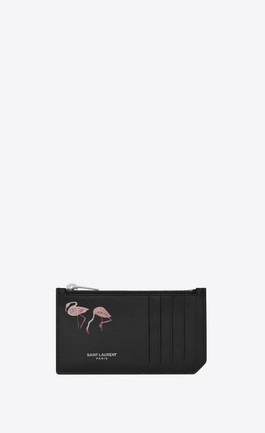 SAINT LAURENT SLP animation U SAINT LAURENT PARIS FRAGMENTS Flamingo Zip Pouch in Black and Pink Leather a_V4