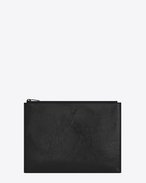 SAINT LAURENT Monogram SLG U monogram Zipped Tablet Holder in Black Patent Leather f