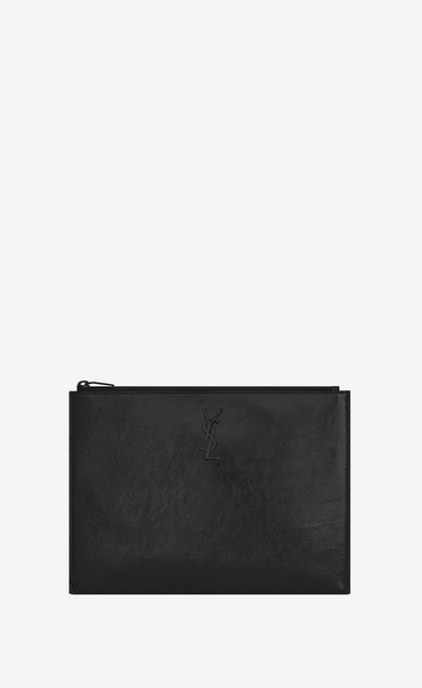 SAINT LAURENT Monogram SLG E custodia per tablet con chiusura a zip in vernice nera a_V4