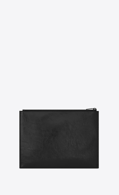 SAINT LAURENT Monogram SLG E custodia per tablet con chiusura a zip in vernice nera b_V4