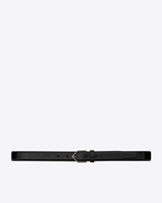 SAINT LAURENT Skinny Belts U TRIANGLE Buckle Belt in Black Leather f