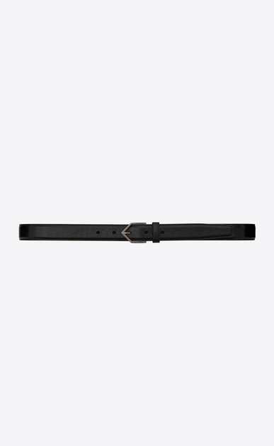 SAINT LAURENT Skinny Belts Man TRIANGLE Buckle Belt in Black Leather a_V4