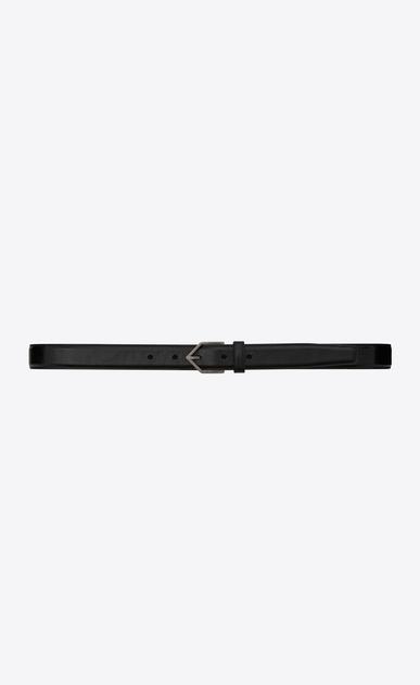 SAINT LAURENT Skinny Belts U TRIANGLE Buckle Belt in Black Leather v4