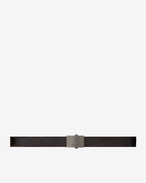 SAINT LAURENT Classic Belts U ARMY Buckle Belt in Worn Black Leather f