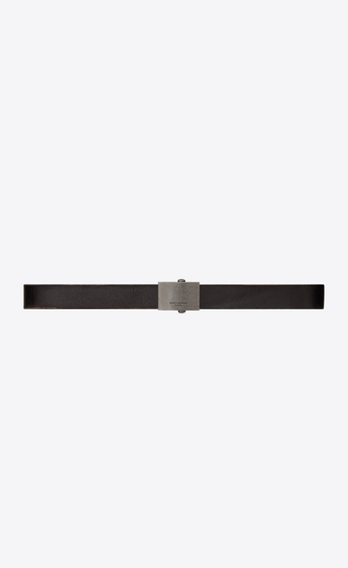 SAINT LAURENT Classic Belts U ARMY Buckle Belt in Worn Black Leather a_V4