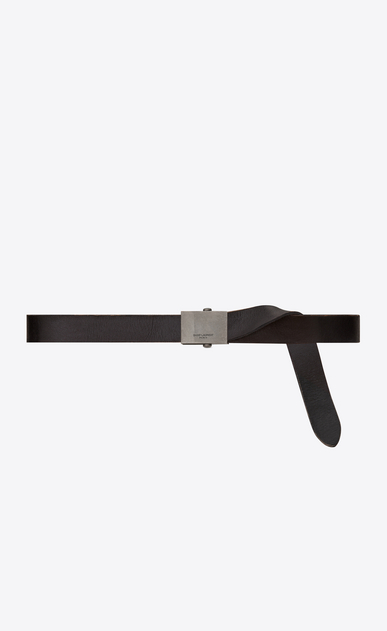 SAINT LAURENT Classic Belts Man ARMY Buckle Belt in Worn Black Leather b_V4