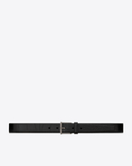 SAINT LAURENT Classic Belts U MONOGRAM Roller Buckle Belt in Black Crocodile Embossed Leather f