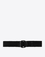 SAINT LAURENT Classic Belts U HARNESS Belt in Black Chevron Woven Cotton f