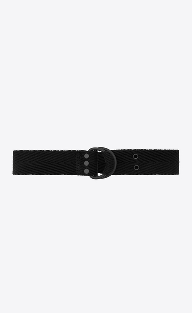 SAINT LAURENT Classic Belts Man HARNESS Belt in Black Chevron Woven Cotton a_V4