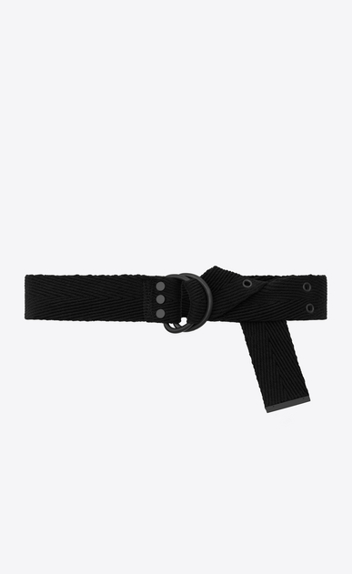 SAINT LAURENT Classic Belts Man HARNESS Belt in Black Chevron Woven Cotton b_V4