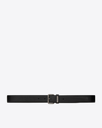 SAINT LAURENT Classic Belts U MOTORCYCLE Buckle Belt in Black Leather f