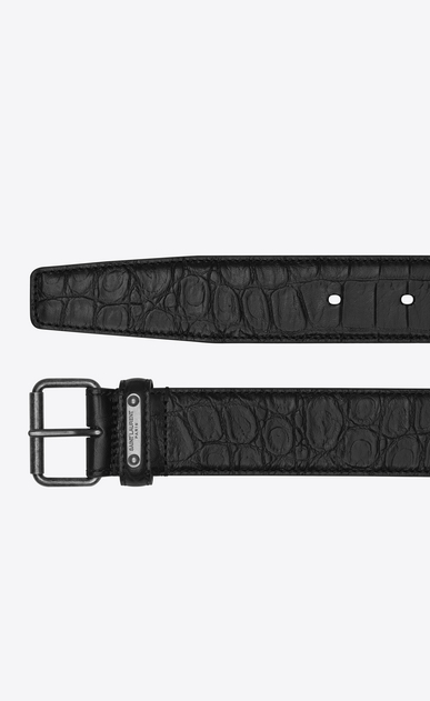 SAINT LAURENT Medium Belt U MOTORCYCLE Buckle Belt in Black Crocodile Embossed Leather b_V4