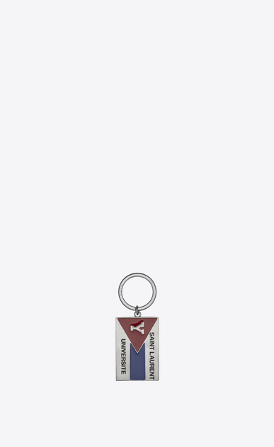 "SAINT LAURENT Key Ring Man ""SAINT LAURENT UNIVERSITÉ"" Key Ring in Silver-Toned Metal and Black, Red and Blue Enamel a_V4"