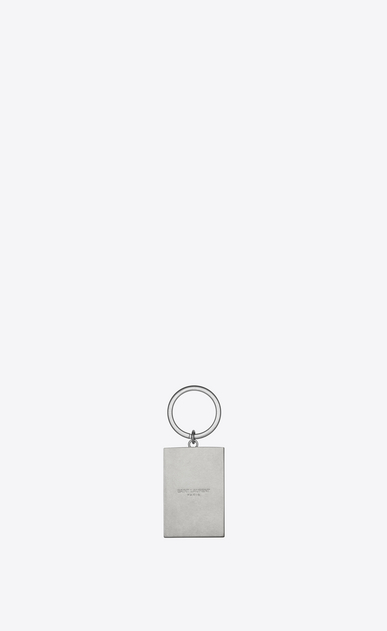 "SAINT LAURENT Key Ring Man ""SAINT LAURENT UNIVERSITÉ"" Key Ring in Silver-Toned Metal and Black, Red and Blue Enamel b_V4"