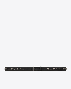 SAINT LAURENT Skinny Belts U MONOGRAM Roller Buckle Studded Skinny Belt in Black Leather f