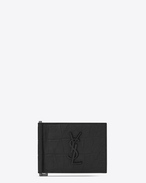 SAINT LAURENT Monogram SLG U monogram Bill Clip Wallet in Black crocodile embossed leather f