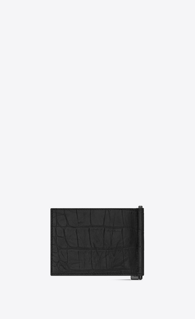 SAINT LAURENT Monogram SLG Man monogram bill clip wallet in stamped crocodile leather b_V4