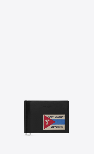 "SAINT LAURENT SLP animation Man SAINT LAURENT PARIS ""UNIVERSITÉ"" Patch Bill Clip Wallet in Black Leather a_V4"
