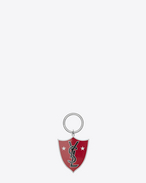SAINT LAURENT Key Ring U YSL Shield Key Ring in Red and Black Enamel and Silver-Toned Metal f