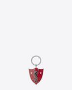 SAINT LAURENT Key Ring U Porte-clés bouclier YSL en émail rouge et noir et métal argenté f