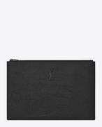 SAINT LAURENT Monogram SLG U MONOGRAM SAINT LAURENT Zipped Document Holder in Black Crocodile Embossed Leather f