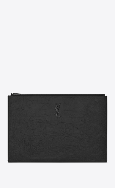 SAINT LAURENT Monogram SLG E porte-documents zippé en cuir embossé façon crocodile noir a_V4