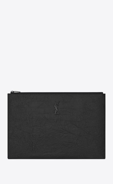 SAINT LAURENT Monogram SLG U monogram Zipped Document Holder in Black Crocodile Embossed Leather v4