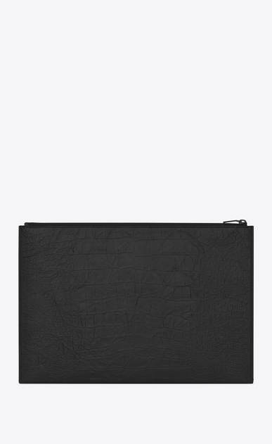 SAINT LAURENT Monogram SLG E porte-documents zippé en cuir embossé façon crocodile noir b_V4